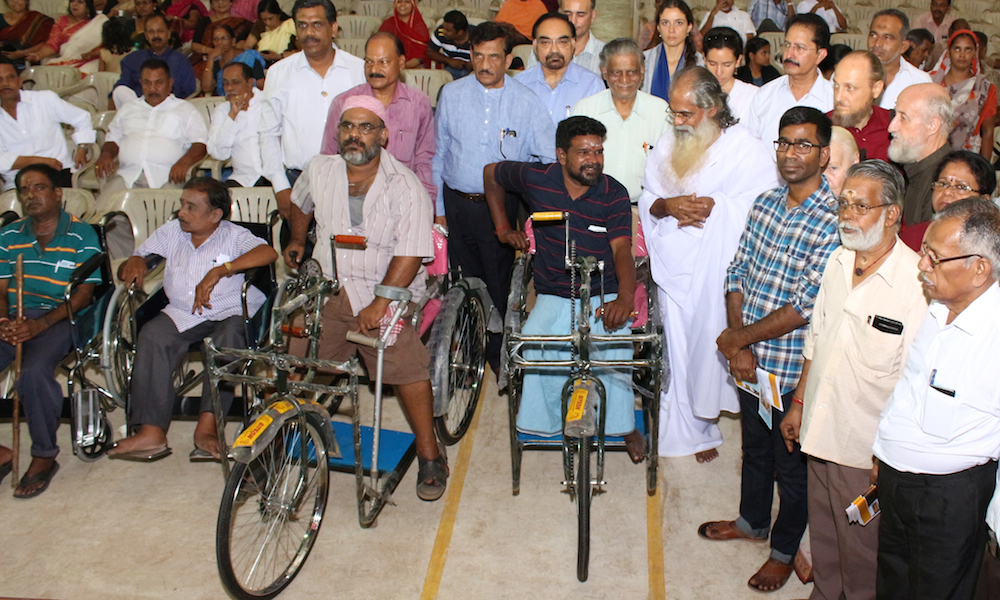 IVPT provides wheelchairs and handmover tricylces to chennai flood victim