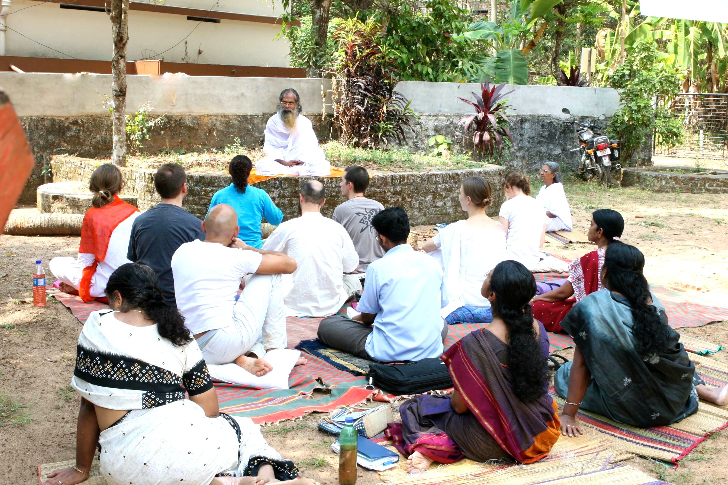 LTC class with Swami Isa outside