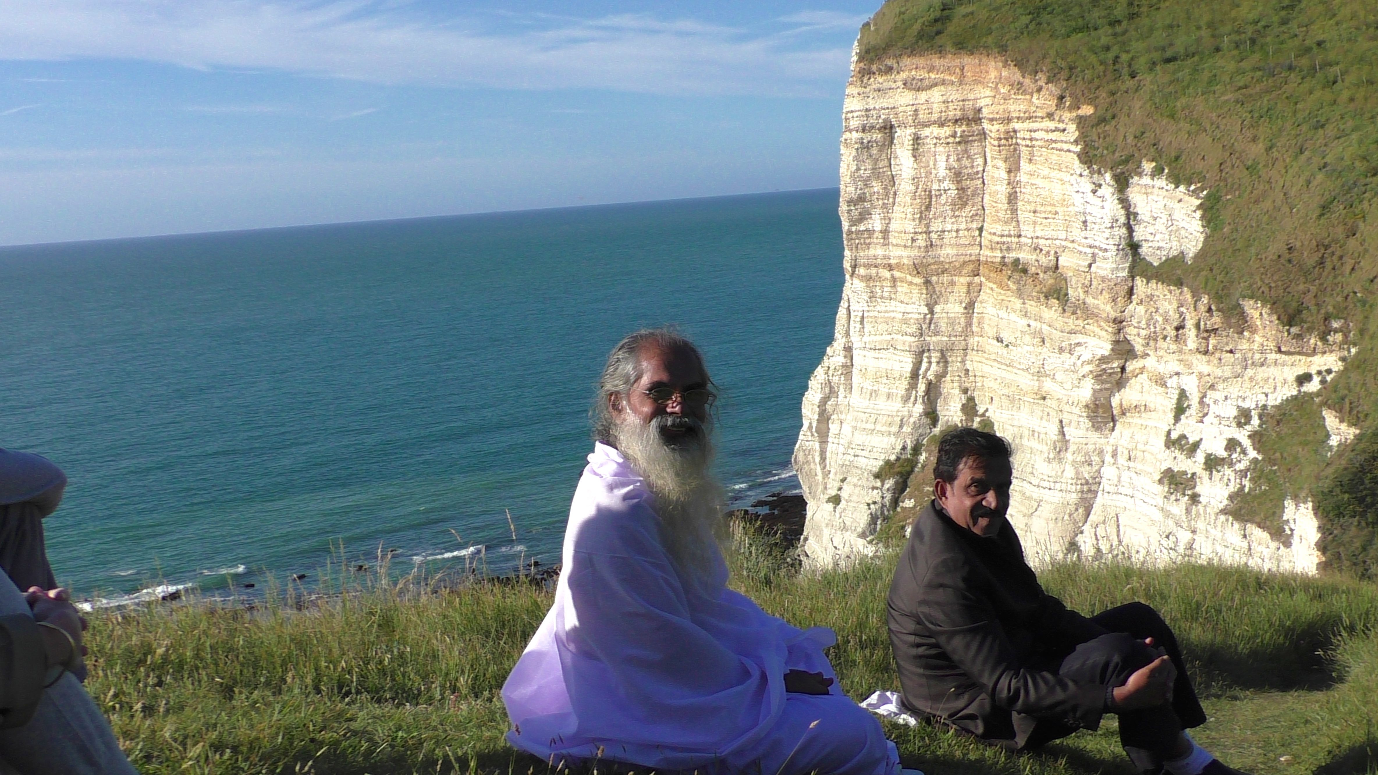 Swami Isa at cliffs of Normandy