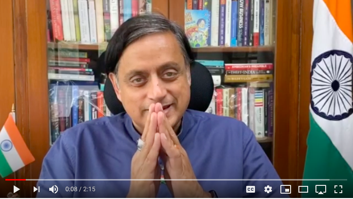 Shashi Tharoor video message